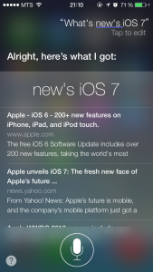 Siri говорит что нового в iOS 7